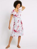 Marks and Spencer Floral Print Flutter Sleeve Swing Dress