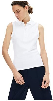 Lacoste Sleeveless Slim Fit Pique Polo (White) Women's Clothing
