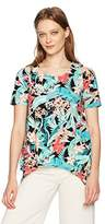 Adrianna Papell Women's Printed Crew Neck Short Sleeve Cold Shoulder Shark Bite