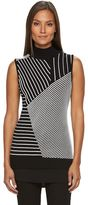 Dana Buchman Women's Textured Stripe Mock-Layer Sweater
