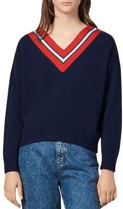 Sandro Striped V-Neck Wool-Blend Sweater