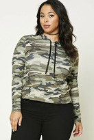 Forever 21 FOREVER 21+ Plus Size Hooded Army Sweater