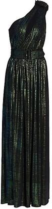retrofete Andrea One-Shoulder Metallic Pleated Column Dress