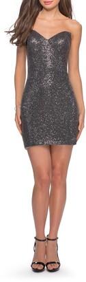 La Femme Sequin Body-Con Minidress