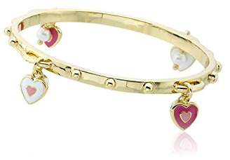 """Little Miss Twin Stars Girls' """"Stackable Stunners"""" 14k Gold-Plated Accented with Enamel Hearts and Fresh Water Pearl Cluster Dangles Bangle Bracelet"""