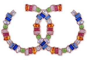 "GUESS Gold-Tone Multicolor Crystal Medium Front-Facing Hoop Earrings, 1.75"""