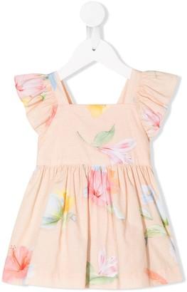 Lapin House Floral-Print Bow Detail Dress Set