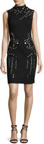 Jovani Sleeveless Mock-Neck Shift Dress w/ Grommets, Black