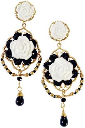 Poporcelain Classic Baroque Porcelain Rose Statement Earrings