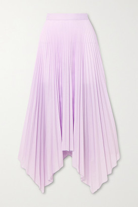 Paul & Joe Sortilege Asymmetric Pleated Crepe Midi Skirt - Lilac
