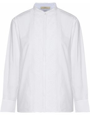 Vanessa Bruno Lace-paneled Cotton-poplin Shirt