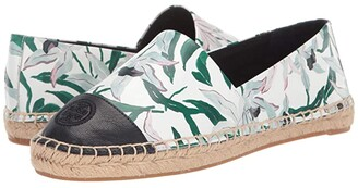 Tory Burch Color Block Flat Espadrille (Ivory Desert Bloom/Perfect Navy) Women's Shoes