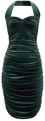 Norma Kamali Bill Sweetheart-neckline Velvet Dress - Womens - Dark Green