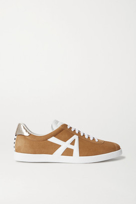 Aquazzura The A Leather-trimmed Suede Sneakers - Tan