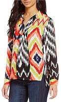 Jones New York Ikat Medley Printed Georgette Hi-Low Side Slit Tunic