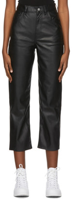Levi's Levis Black Faux-Leather Ribcage Straight Trousers