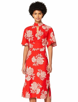 Amazon Brand - TRUTH & FABLE Women's Dress Midi Keyhole