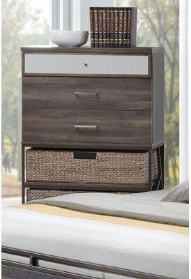 Union Rustic South Ferry Metal Base 3 Drawer Chest