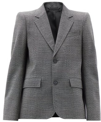 Balenciaga Single-breasted Check Wool Jacket - Black White