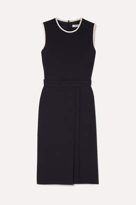 Max Mara Pleated Crepe Dress - Navy