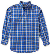 Roundtree & Yorke Long-Sleeve Linear Plaid Oxford Sportshirt