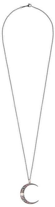Andrea Fohrman Large Rose Gold Luna Mixed Stone Pendant Necklace