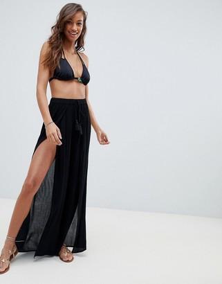 Asos Design DESIGN split front beach trouser-Black