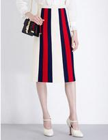 Gucci Striped wool and silk-blend midi skirt