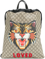 Gucci Angry Cat print backpack - men - Leather/Nylon - One Size