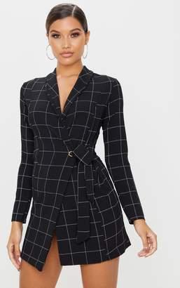 PrettyLittleThing Black Checked Long Sleeve Blazer Dress