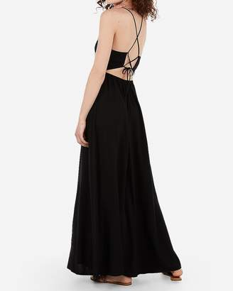 Express High Neck Tie Back Strappy Maxi Dress