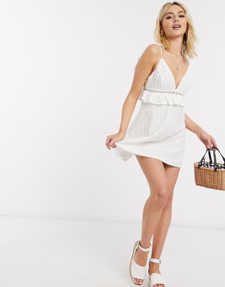 Skylar Rose cami strap lace skater dress in off white