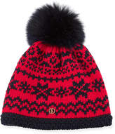 Bogner Fire & Ice Bogner Kaira Crochet Beanie Hat w/ Fur Pompom
