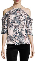 Parker Cindy Floral-Print Cold-Shoulder Silk Top, Privett