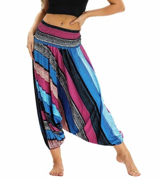 Nuofengkudu Women Culottes Baggy Trousers Boho Geometry Patterned Smocked High Waist Low Crotch Beach Yoga Indian Thai Hippie Thin Harem Pants Black