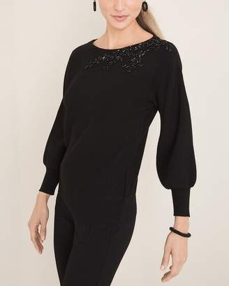 Chico's Chicos Embellished-Shoulder Pullover Sweater
