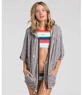 Billabong Junior's Love Me Zip Up Oversized French Terry Sweater