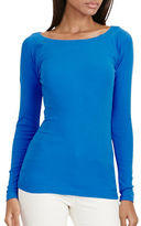 Lauren Ralph Lauren Petite Stretch-Cotton Ballet-Neck Top