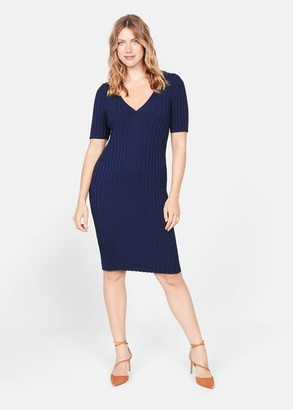 MANGO Violeta BY Tailored ribbed dress dark navy - 12 - Plus sizes
