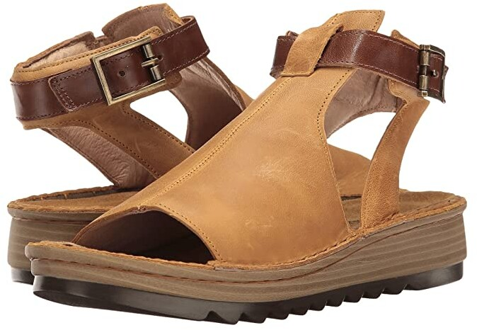 Naot Footwear Verbena (Oily Dune Nubuck/Maple Brown Leather) Women's Shoes