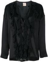 Nude ruffle detail blouse