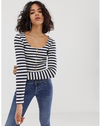NATIVE YOUTH Striped Button Front Long Sleeve Crop Navy White - L