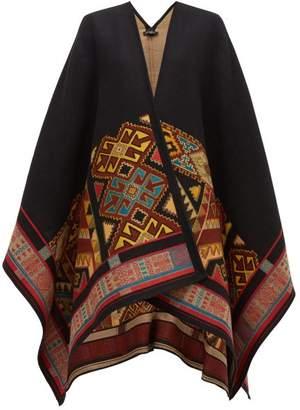 Etro Geometric Jacquard Wool Blend Cape - Womens - Black