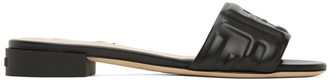 Fendi Black Leather Forever Sandals