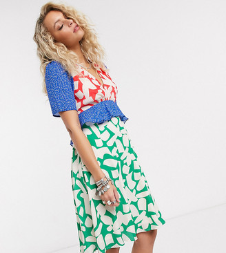 Twisted Wunder printed mini dress in abstract floral color block