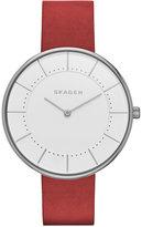 Skagen Women's Red Leather Strap Watch 38mm SKW2559