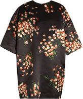 Rochas Daisy-print duchess-satin oversized mini dress