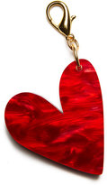 Edie Parker Heart Bag Charm, Gold/Red