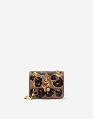 Dolce & Gabbana Small Jungle Bag In Calfskin With Leo Print And Bejeweled Closure