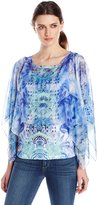 OneWorld Women's Woven Chiffon Overlay Top with Printed Tank and Bling